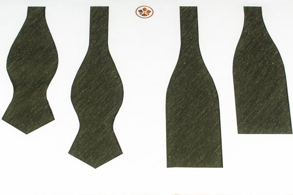 Solid Olive Shantung Bow Tie