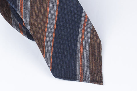 Blue-Brown Block Stripes in Silk