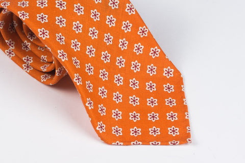 Orange Flowers Printed Linen