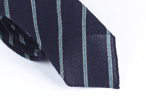 Navy-Blue Striped Seersucker