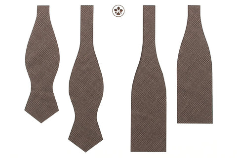 Undyed Escorial Brown Glencheck Bow Tie
