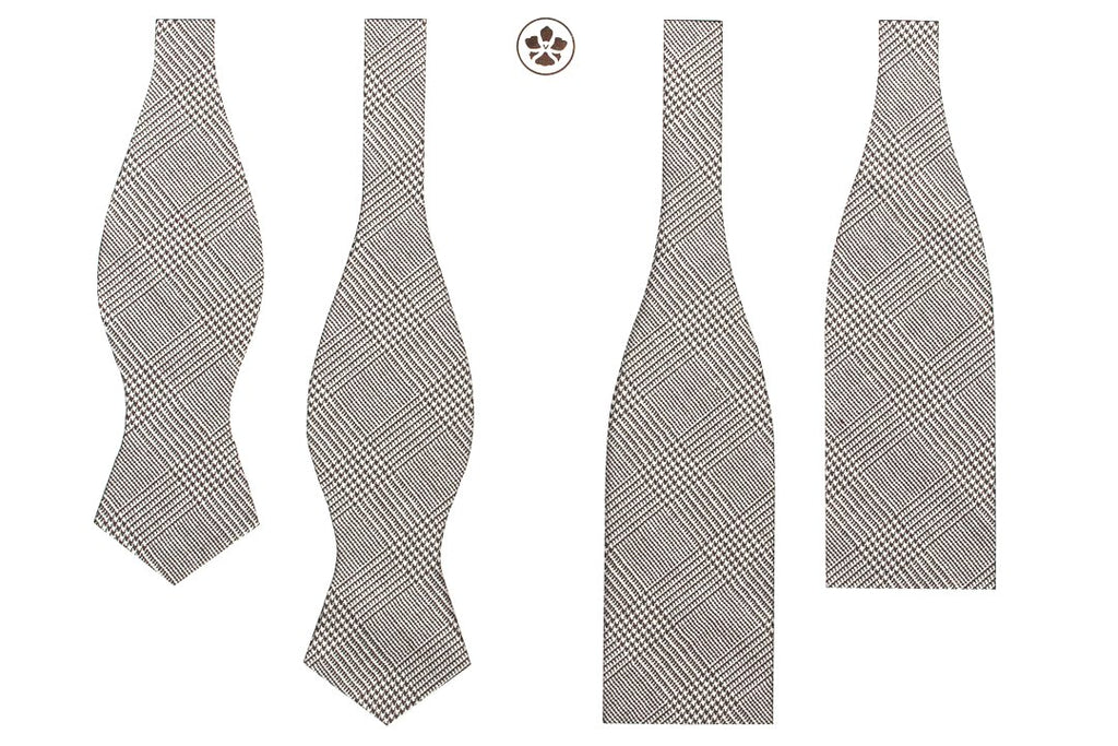 Undyed Escorial Cream Glencheck Bow Tie