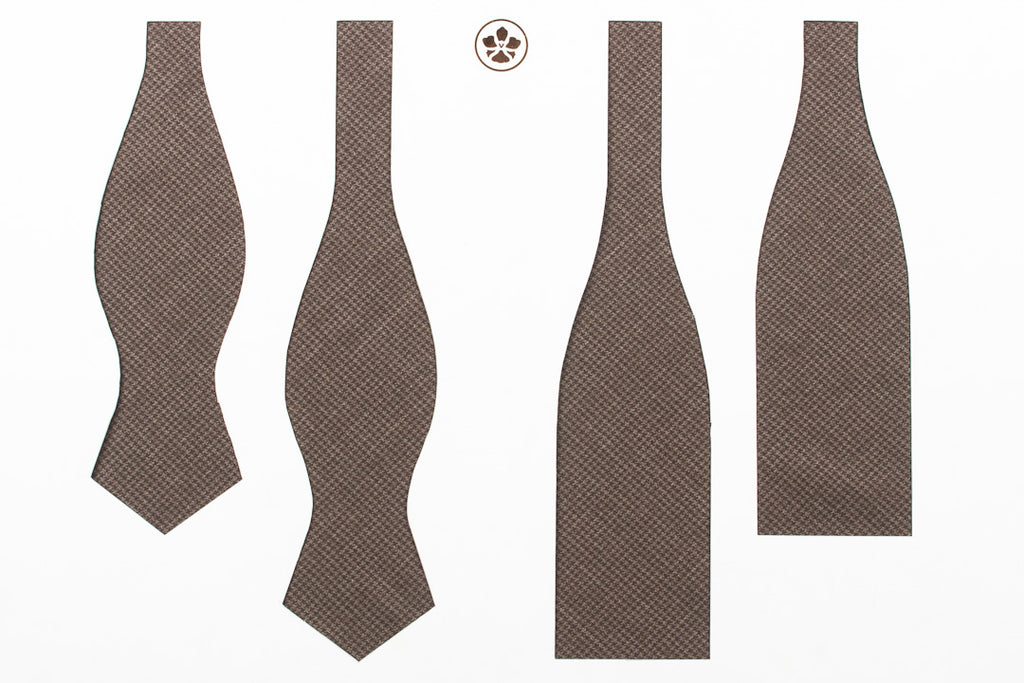 Undyed Escorial Brown Houndstooth Bow Tie