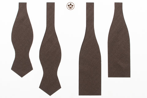 Undyed Escorial Chocolate Herringbone Bow Tie