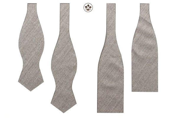 Undyed Escorial Cream Herringbone Bow Tie