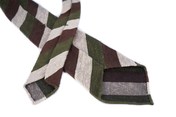 Olive-Brown Block Striped Shantung