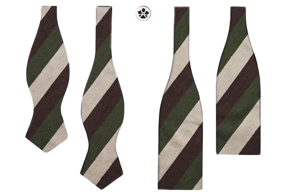Olive-Brown Block Striped Shantung Bow Tie