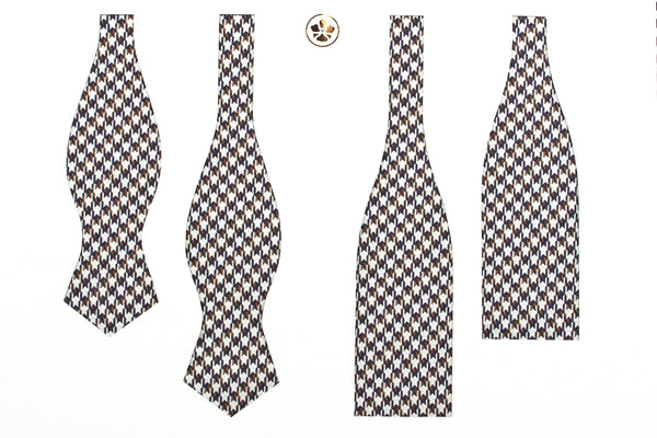 Navy-Brown Medium Houndstooth Bow Tie
