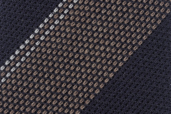 Navy-Taupe Wool/Silk Grenadine
