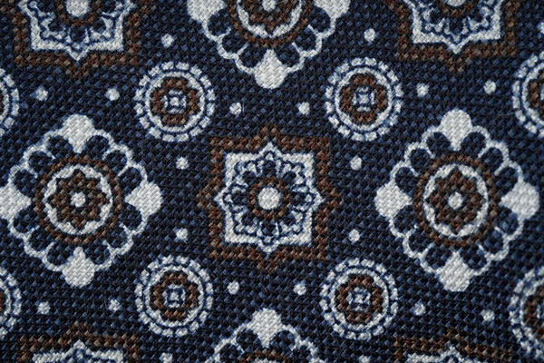 Blue-Brown Large Motifs Silk Linen