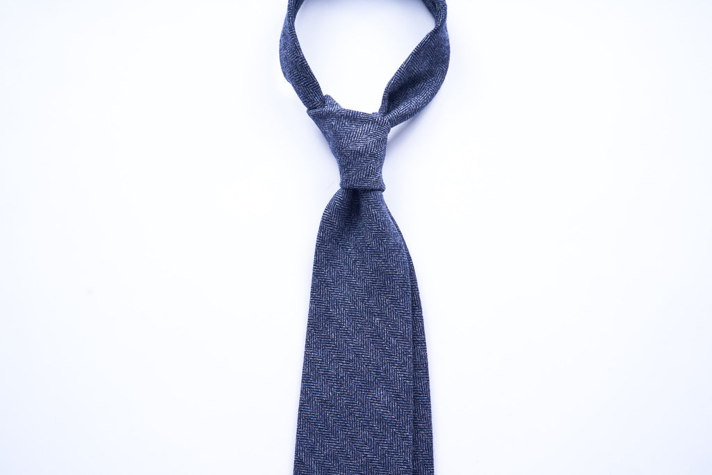 Blue Herringbone Wool Cashmere