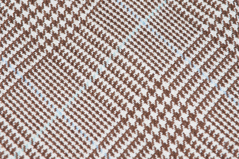 Brown-Blue Glencheck Cashmere Silk