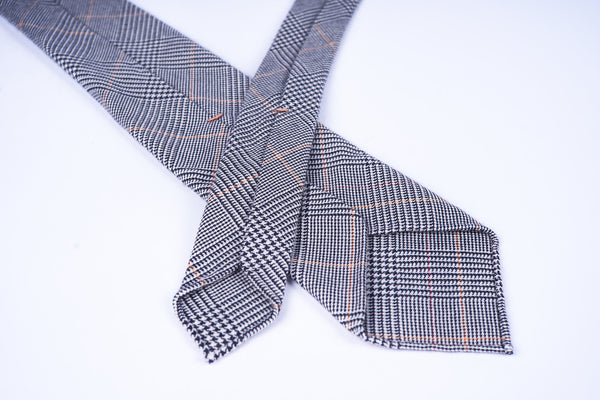 Grey-Orange Glencheck Cashmere Silk