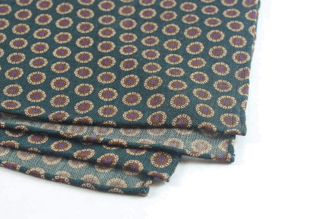 Scarf: Green Slanted Medallions