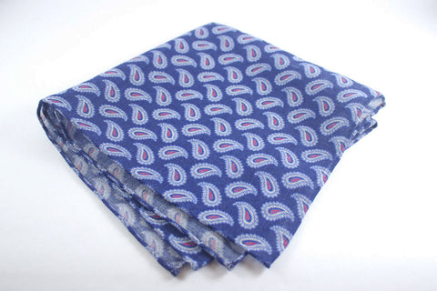 Scarf: Blue Mélange Wool Paisley