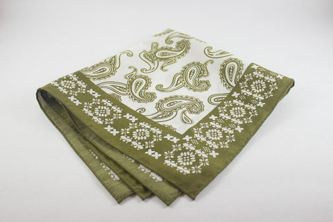 Olive Paisley in Cotton Silk