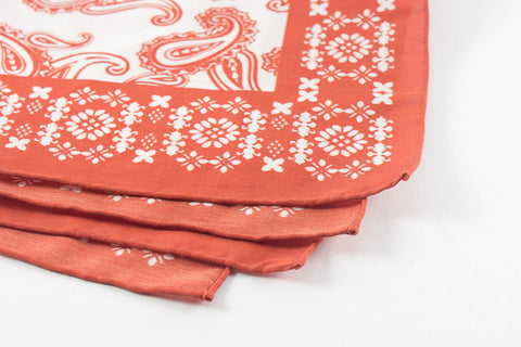 Orange Paisley in Cotton Silk