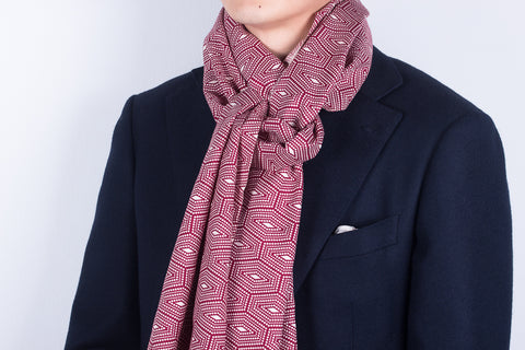 Scarf: Wine Hexagons