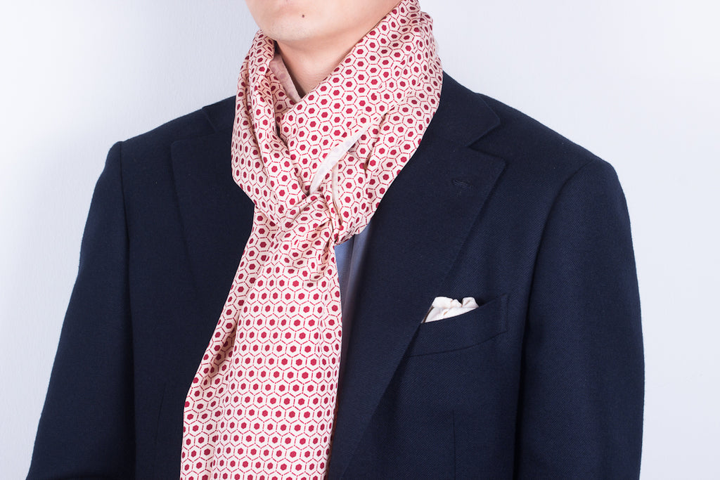 Scarf: Red-Cream Honeycombs