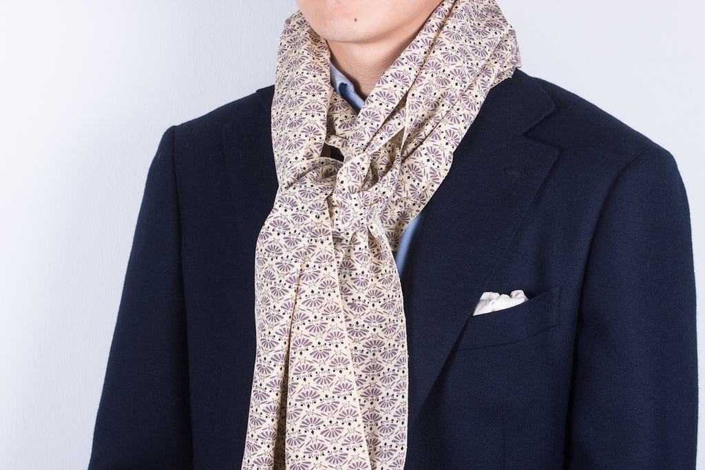 Scarf: Cream-Grey Fans