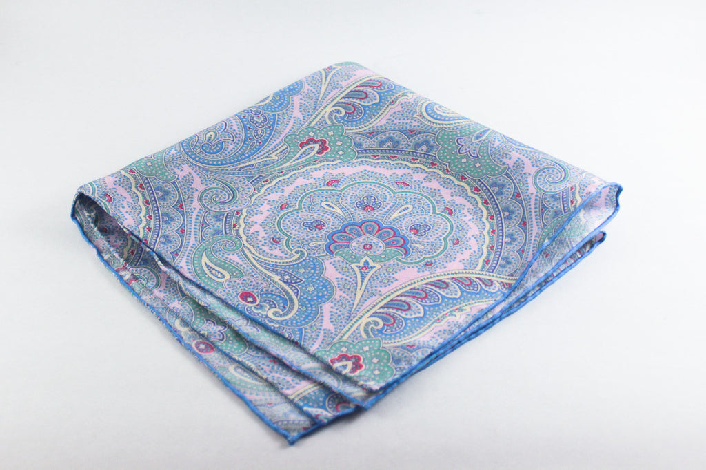 Blue-Pink Large Paisley
