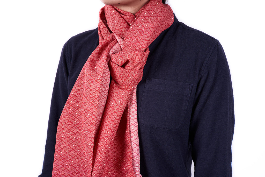 Scarf: Red Geo Flowers