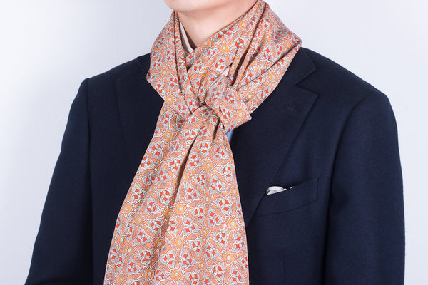 Scarf: Orange-White Arabesque
