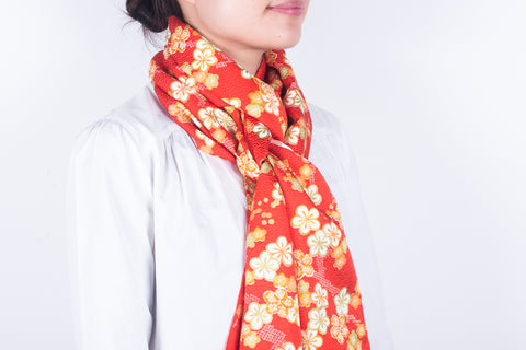 Scarf: Deep Orange-Yellow Flowers