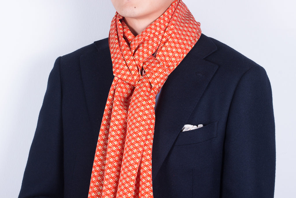 Scarf: Orange-Mint Flowers