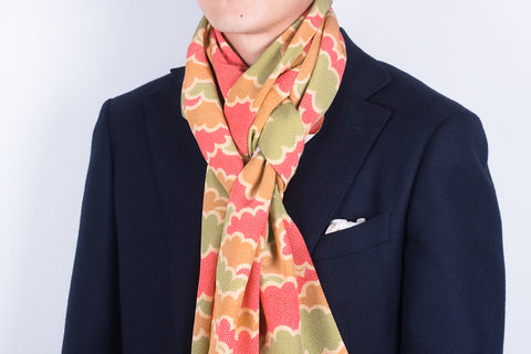 Scarf: Green-Red-Mustard Clouds