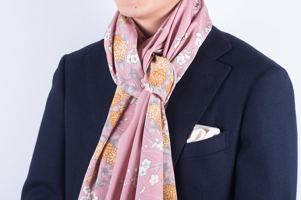 Scarf: Dusty Pink Chrysanthemums