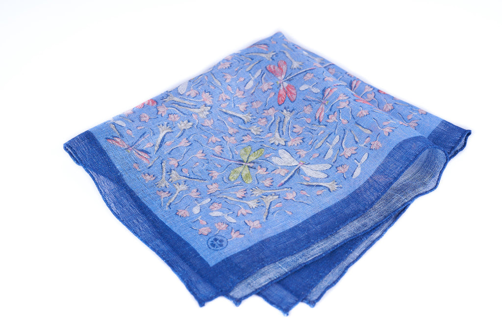 Blue Dragonflies Linen Silk