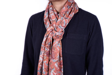Scarf: Salmon Blue Flowers
