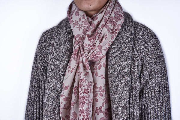 Scarf: Dove Grey-Maroon Flowers