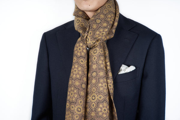 Scarf: Brown-Yellow Wool Hand Block Print