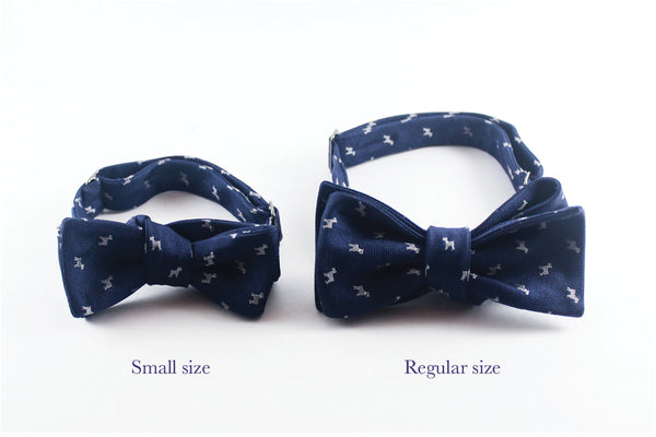 Black-White Silk Herringbone Bow Tie
