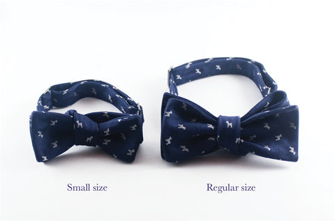 Blue Melange Flowers Bow Tie