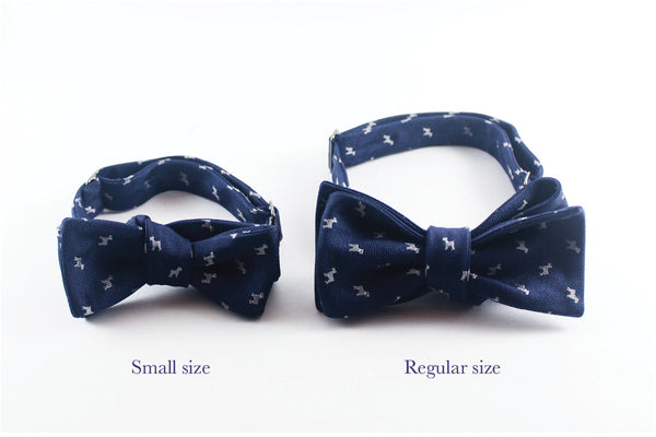Tan with Steel Blue Houndstooth Bow Tie