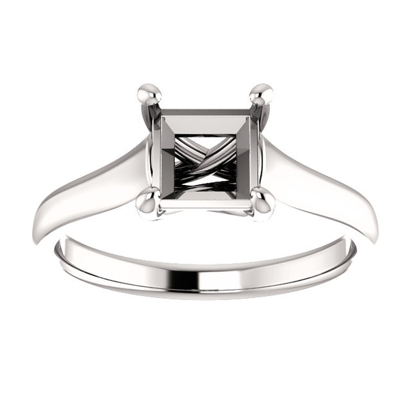 Sterling Silver Square/Princess Cut Solitaire Ring Setting - Classic Woven Style Ring Mounting