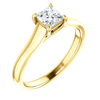 14K Gold Square/Princess Cut Solitaire Ring Setting - Classic Woven Style Ring Mounting