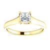 Square/Princess Cut Solitaire Ring Setting - Classic Woven Style - 4 Prong - 14K Gold