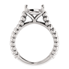 Sterling Silver Round Cut Solitaire Ring Setting - Beaded Split-Shank Style Ring Mounting