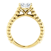 Oval Cut Solitaire Ring Setting - Beaded Split-Shank Style - 4 Prong - 14K Gold