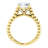 14K Gold Round Cut Solitaire Ring Setting - Beaded Split-Shank Style Ring Mounting