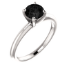 Natural Fine Black Diamond Round Brilliant Solitaire Ring - Classic Style - 4 Prong - 14K Gold