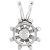 Sterling Silver Round Cut Solitaire Pendant Setting - Basket Style 8 Prong Pendant Mounting