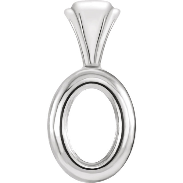 Sterling Silver Oval Cut Solitaire Pendant Setting - Bezel Style Pendant Mounting