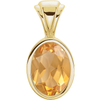 14K Gold Oval Cut Solitaire Pendant Setting - Bezel Style Pendant Mounting