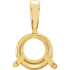 14K Gold Round Cut Solitaire Pendant Setting - Basket Style 3 Prong Pendant Mounting