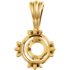 14K Gold Round Cut Solitaire Pendant Setting - Claw Style Pendant Mounting